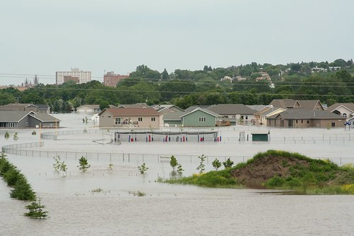 Picture of flooding of homes in Minot, North, Dakota, 2011