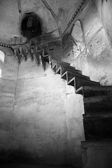 Scary Stairs - Orchha (greenwood100) Tags: travel bw india fall stairs dark temple mono asia nest fear religion steps atmosphere freaky haunted spooky dome escher wasps height orcha madhyapradesh orchha urchha