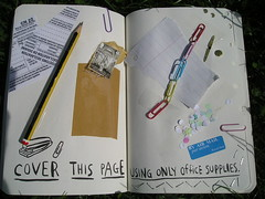 Wreck this journal day 2... Cover this page using only office supplies!! (kittypinkstars) Tags: this office journal smith using cover page only keri supplies wreck