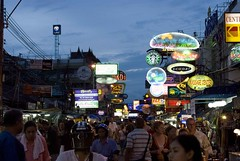 Khao San Road (@Mark_Eveleigh) Tags: road travel light tourism asian thailand san asia neon tour bangkok south crowd visit east international journey thai nightlife southeast backpacker kao khao sahn sarn