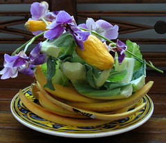 +Beautiful Compost+ (   giamarie  ) Tags: blue orchid art vegetables yellow fruit purple squash compost melon inresidence cauliflowerleaves foodasart artineverdaylife indonesianbench