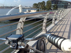 Riding a Cruiser bike near Merlion Park