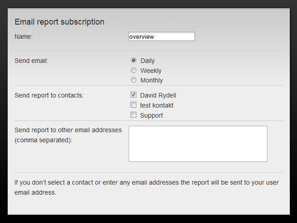 Pingdom email report settings