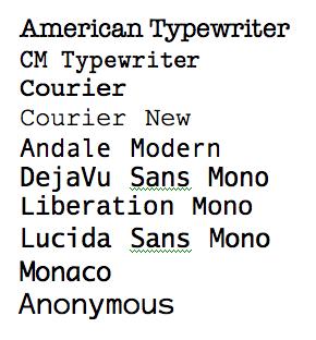 Monospaced Fonts