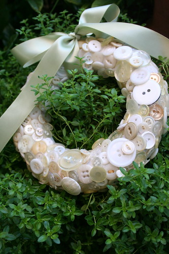 button wreath and greens