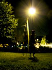 Sharing (Sorrel and Roan) Tags: light people silhouette night dark person streetlight multipleexposure jess openshutter