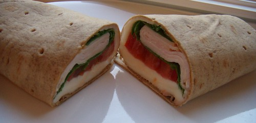 Turkey, tomato, spinach, cheese wrap