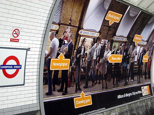 Allergy ad at Liverpool Street Tube Station