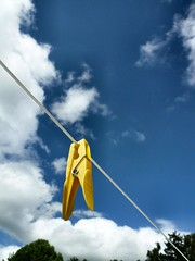 Contrast clothes-pin (fatseth) Tags: blue summer sky cloud yellow composition contrast wire pin cloudy fil clothes bleu ciel t nuage linge morel hung pince pendu accroch fatseth genseric