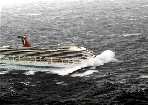 The cruise ship Voyager negotiating swells in the Meditteranean