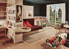 1945 Mid-century Modern Living Room (American Vintage Home) Tags: modern design interior retro 1940s decorating linoleum 1945 colorscheme midcentury barkcloth