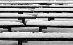 (nick_moran) Tags: winter white snow abstract black sweden seats jamtli stersund outdoortheatre blackwhitephotos d40x
