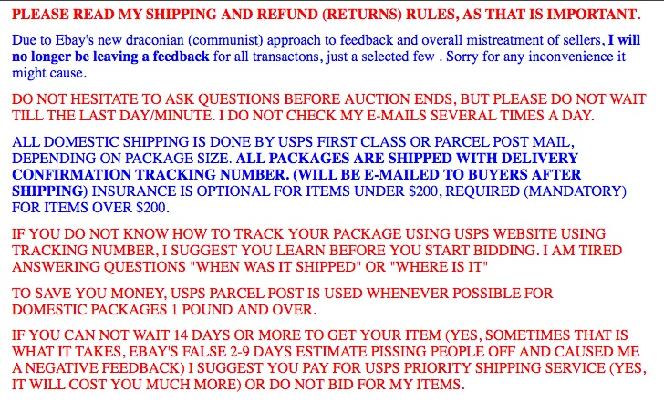 PLEASE READ MY SHIPPING AND REFUND (RETURNS) RULES, AS THAT IS IMPORTANT.
