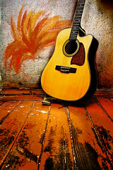 Acoustic guitar (halfkidd) Tags: old red music home metal wall neck floor guitar background interior grunge indoor melody musical sound instrument acoustic strings spruce fretboard rosewood
