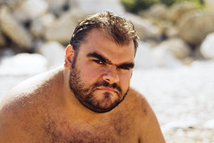 on the beach (rombear) Tags: bear sun male beach face beard cub mare sguardo sight grizzly sole spiaggia piero barba orso cucciolo faccia maschio