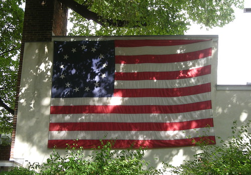 Flag outside Betsy Ross' House