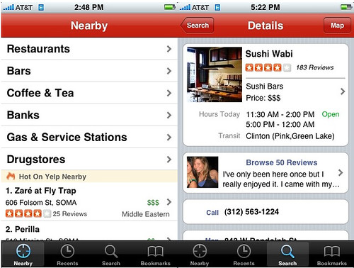 Yelp 2.0 for the iPhone 1