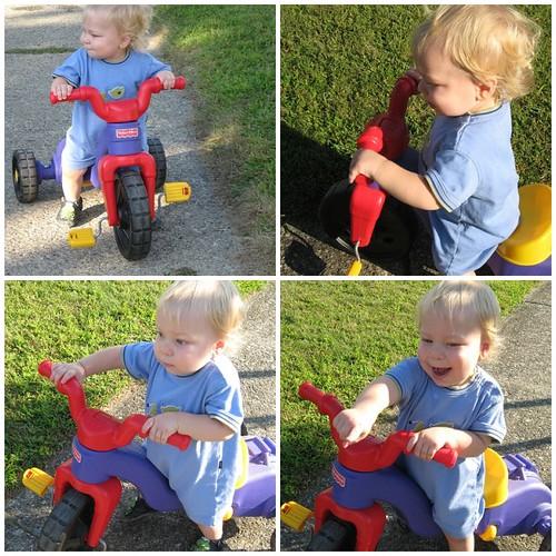 "Time to ""walk"" his bike"
