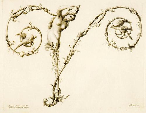 26-Letra V- Poggy Mauro 1750- Alfabeto di lettere iniziali