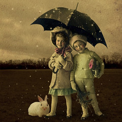 When snow is coming... Christmas is never far away ! (Martine Roch) Tags: santa christmas xmas snow rabbit animal sepia umbrella vintage children square surreal photomontage digitalcollage petitechose martineroch lesamisdupetitprince artistictreasurechest