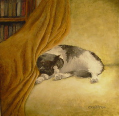 """Cat Nap"" An Acrylic Painting (Elizabethc) Tags: sleeping blackandwhite white black art cat painting fur chair feline artist acrylic nap elizabeth drawing sleep kitty books tuxedo blanket snooze napping crabtree battlecreek snoozing bej goldstaraward rubyphotographer elizabethcrabtree crabtreeoriginals"