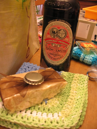 Beer soap, washcloth and beer