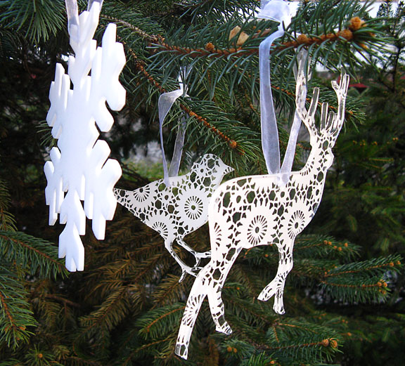 deer, snowflake and bird