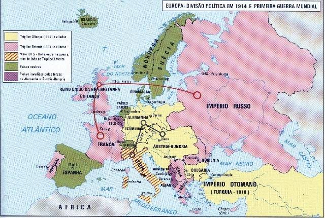 mapa da 1ª guerra mundial