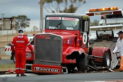 Smashed (Rohan Phillips) Tags: red rescue truck fire lights big smash crashed racing semi rig trucks trailer emergency tow trucking motorsport kenworth mallala supertrucks