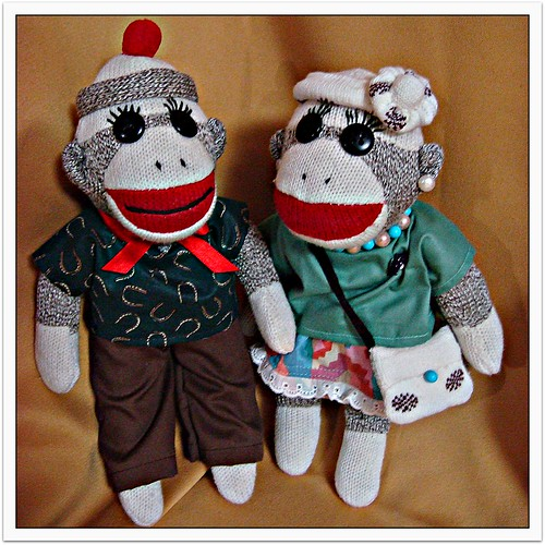 Sock Monkey Riki would like to introduce his twin sister Emi. (by martian cat)
