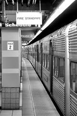 a train at rest... (damonabnormal) Tags: street city urban bw art philadelphia train canon underground subway publictransportation jan january trains phl 2009 patco canonphotography 40d