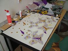My work space (J1ArtCreations) Tags: glitter paper table creativity beads glue workinprogress happiness messy pens sequins handsewing rubbber puplegoldbutterfliessequinsglitterbeadsfelt