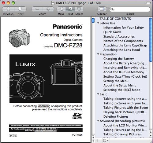 Panasonic FZ28 operating instructions / manual