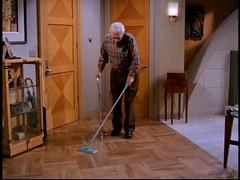 Marty Crane sweeps the floor