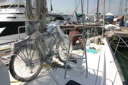 My bike on the Sacanagem sailing boat to Panama...