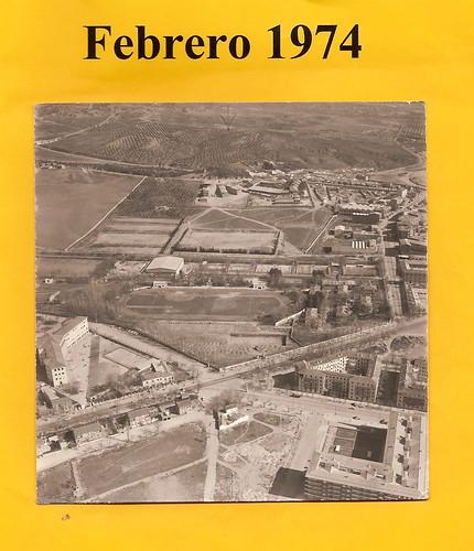 Vista aérea de los terrenos del Colegio de Infantes en 1974 antes de iniciarse su construcción