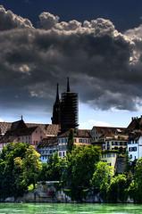 Basel (dongga BS) Tags: water clouds schweiz switzerland wasser downtown wolken basel fluss altstadt rhein hdr mnster rhin photomatix canonefs60mmf28macro eos400d
