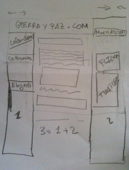 El diseño de guerraypaz.com en un papel