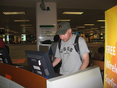Checking e-mail at the Singapore airport