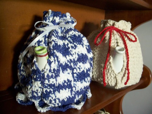 crocheted tea cozies