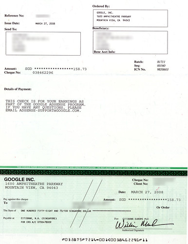 Adsense cheque payment 1- 270308