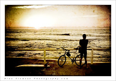 Deja' vu (~* Rae Rae *~) Tags: morning sea texture beach water bike bicycle silhouette sunrise newcastle surfer australia nsw surfboard artisticexpression nosurf raethrenoworthphotography blueelementphotography theunforgettablepictures thecowriehole flatagain raethrenoworth blueelement