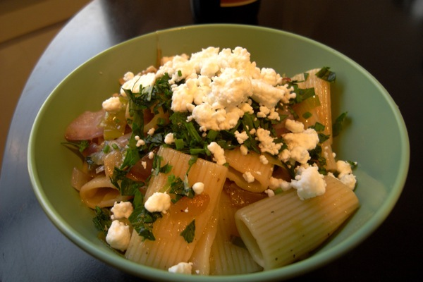 rigatoni with five lilies and goat cheese