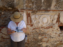 H. reading tour guide next to Byzantine ruins (steven_and_haley_bach) Tags: mom h haley byzantine mystras sixthday mistras greecevacation byzantineruins