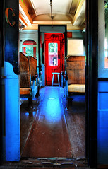 Smoking car (Pressit) Tags: door blue red window train nikon caboose seats d200 hdr 2020 stillworking 1755mmdx