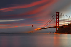 Golden Gate Bridge - The Passageway (PatrickSmithPhotography) Tags: sf sanfrancisco california longexposure travel bridge sunset red sea wallpaper vacation sky usa cloud seascape fog landscape golden gate seascapes dusk marin goldengatebridge marincounty 5d canon5d sausalito suspensionbridge 1740l ogm ggb canon1740l landscapephotography infinestyle seascapephotography