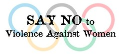 say no to violence against women Olympic Rings logo