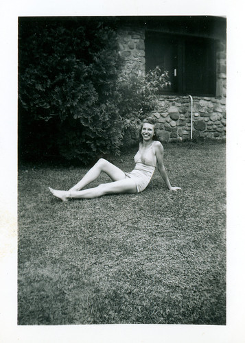 Another friend in a white bathing suit front yard 917