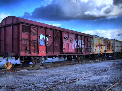 Abandoned train trucks in Stockholm (HDR)