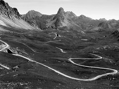 Winding (marcobillo) Tags: road blackandwhite panorama mountains rock montagne view piemonte vista winding piedmont stitched isolated meja maira valmaira vallemaira roccallameja